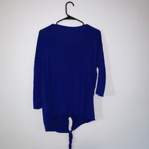 Blue Long Sleeve Flowy Tie Shirt